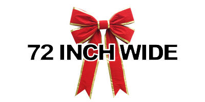 72 inch wide Giant Structural Red Bow, Gold Edge