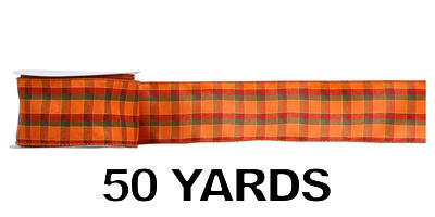 #40 Wired Harvest Plaid Ribbon/Pattern B/50 yds