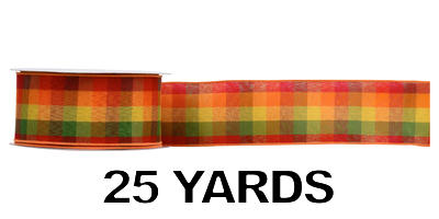 #40 Wired Harvest Plaid Ribbon/Pattern C/25 yds
