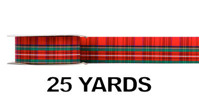 #09 Plaid Acetate Ribbon/RED PLAID/25 yds