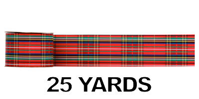 #40 Plaid Acetate Ribbon/METALLIC TARTAN/25 yds