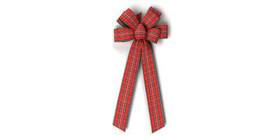 #40 Eight Loop Plaid Acetate Bow/RED PLAID