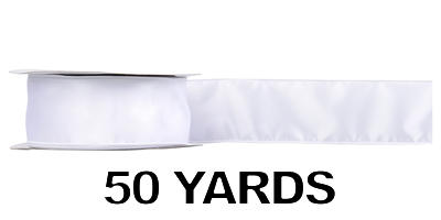 #40 Wired Satin Ribbon/ WHITE/50 yds