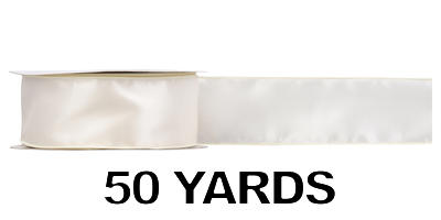 #40 Wired Satin Ribbon/ IVORY/50 yds