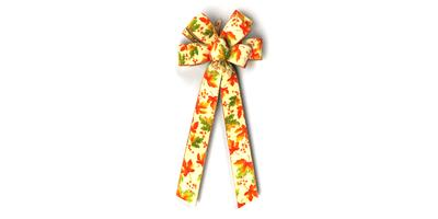 #40 Eight Loop Wired Autumn Leaves Bow/Pattern A