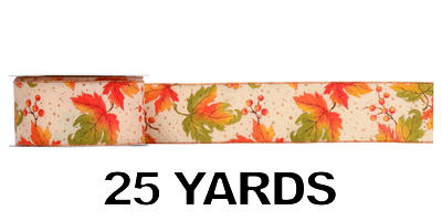 #40 Wired Autumn Leaves Ribbon/25 yds/Pattern A