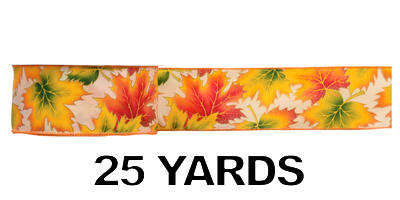 #40 Wired Autumn Leaves Ribbon/25 yds/Pattern B