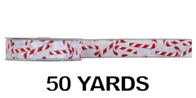 #09 Wired Candy Canes Ribbon/50 Yds