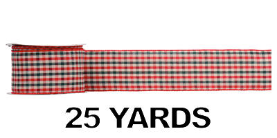 #40 Wired Country Plaid Ribbon/25 yds/PATTERN D