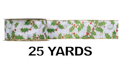 #40 Wired Holly Berry Ribbon/PATTERN A/25 yds