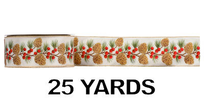 #40 Wired Pine Cones & Berries Ribbon/CREAM/25 yds, Pattern A