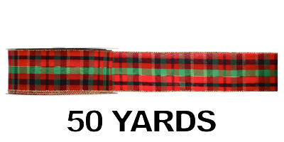 #40 Wired Plaid Ribbon/Pattern A/50 yds