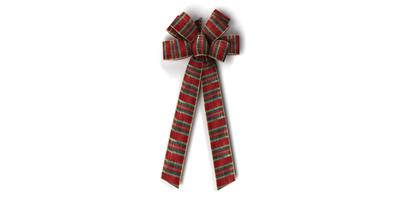 #40 Eight Loop Wired Burgundy Plaid Bow/PATTERN B