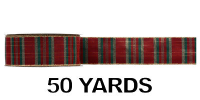 #40 Wired Plaid Ribbon/BURGUNDY/50yds
