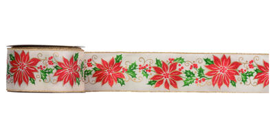 #40 Wired Poinsettias Ribbon/25 yds/IVORY