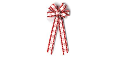 #40 Eight Loop Satin Red Snowmen Bow