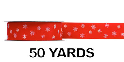 #09 Wired Red Satin w/ White Snow Flakes/50 yds
