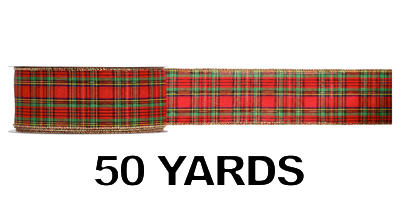 #40 Wired Traditional Plaid Ribbon/50yds