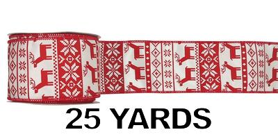 "#40 Ribbon, 2.5""X25Y, Red Reindeer and Snowflakes Print"