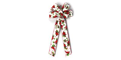 #40 Eight Loop Bow, Cardinals on White Linen, Red Woven Edge