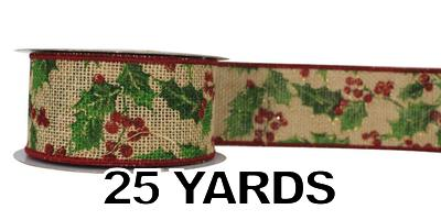 "#40 Ribbon, 2.5""X25Y, Holly and Berries on Natural Burlap"