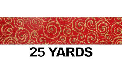 "#40 Ribbon, 2.5""X25Y, Gold Swirls on Red Linen, Gold Woven Edge"