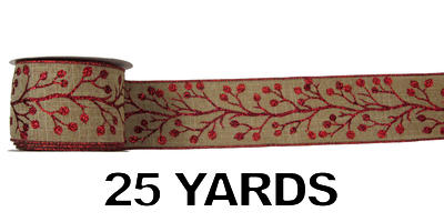 "#40 Ribbon, 2.5""X25Y, Red Glitter Berries on Natural Linen"