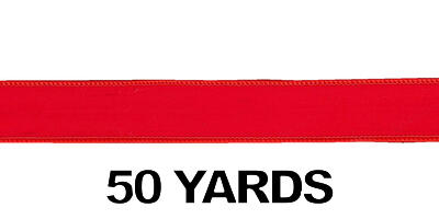 #09 Red Wired Edge Woven Velvet Ribbon/RED/50 yds