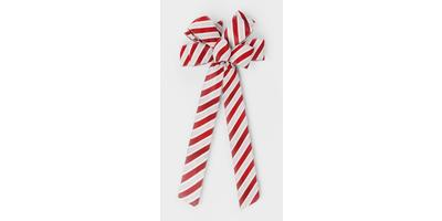 #40 Eight Loop Bow, Candy Cane Stripe, Woven Edge