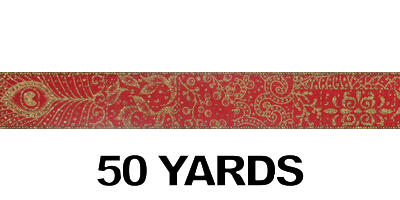 "#9 Ribbon, 1.5""X50Y, Brocade Print, Gold on Red"