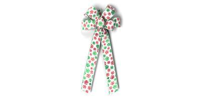 #40 Eight Loop Bow, Red/Green Mints on White