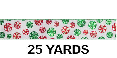"#40 Ribbon, 2.5""X25Y, Red/Green Mints on White"