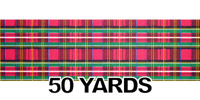 "#40 Ribbon, 2.5"" x 50Y, Poly Print/ TARTAN PLAID"