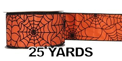 "#40 Ribbon, 2.5"" x 25Y, Black Halloween Web on Orange w/ Black E"