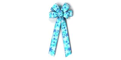 #40 Eight Loop Bow Wht/Teal/Royal Snowflakes on Lt Blue Linen